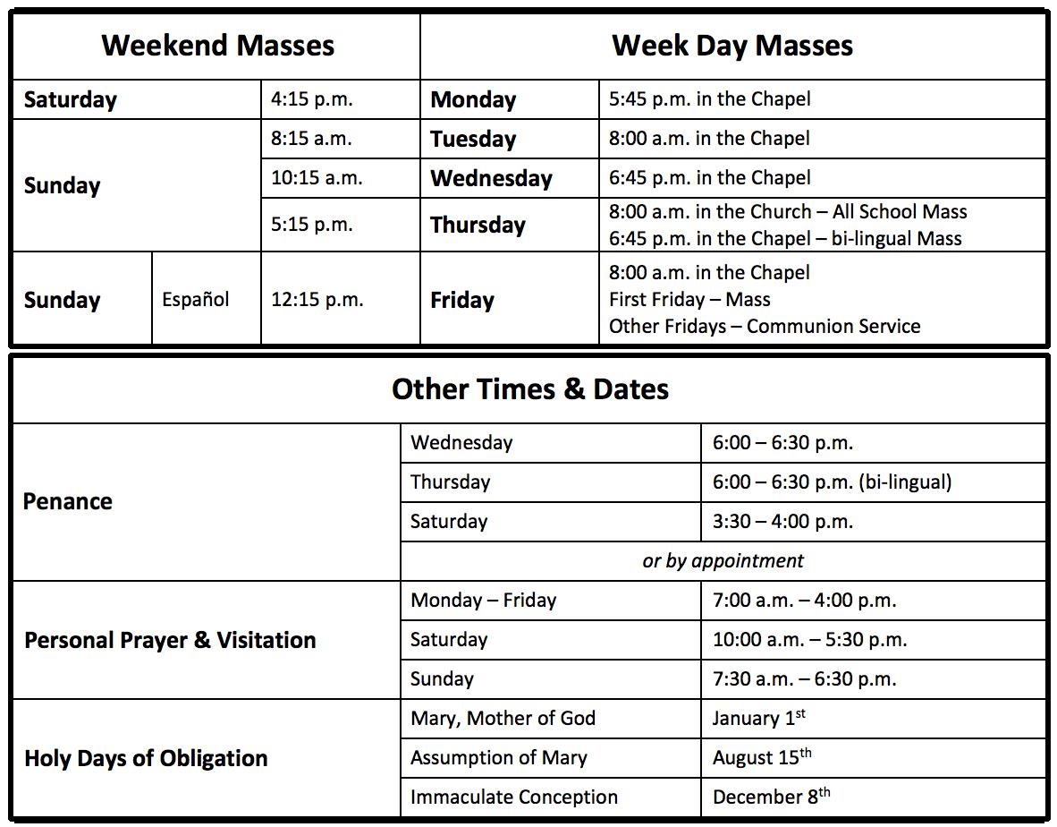 Liturgy Schedule